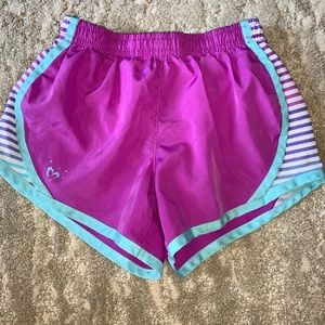 Girls purple and blue athletic shorts
